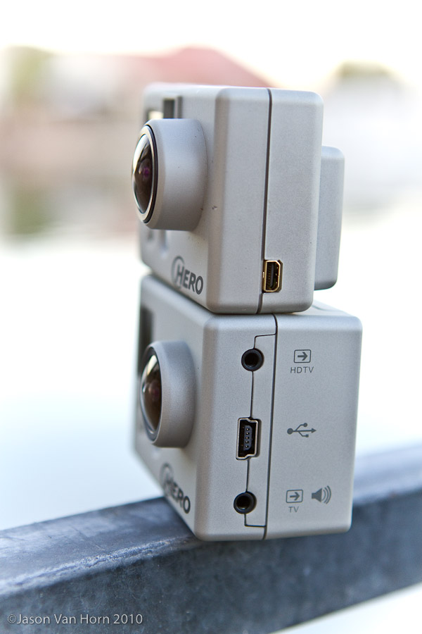 The original GoPro and the new HD model.