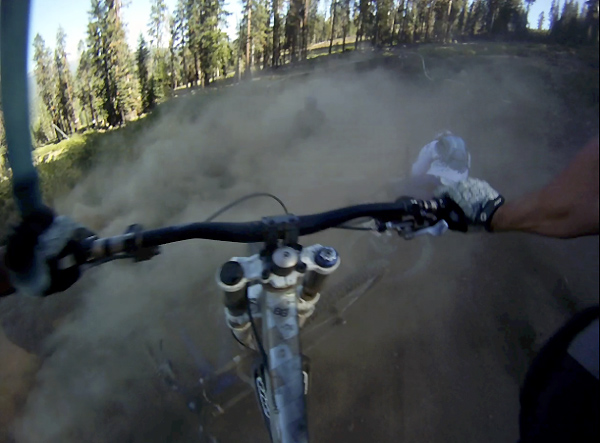 Moment of drama: still from a video capture taken at Northstar on the Livewire trail.