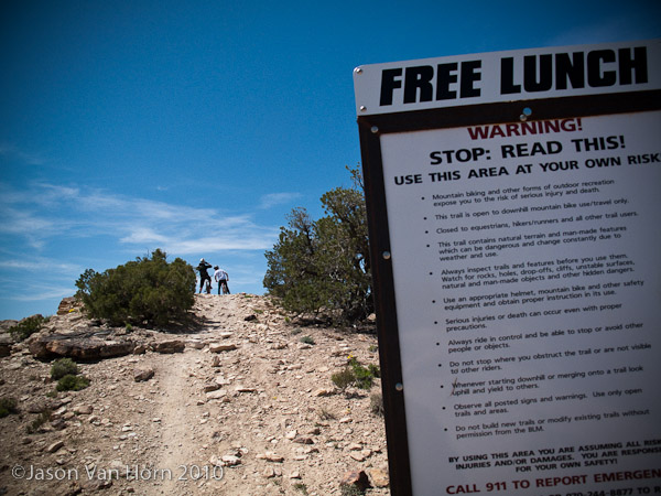 Start of sweet FR goodness: the Free Lunch trail head.