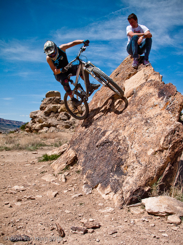 Hitting up a rock wall ride while Dylan watches. Photo by Cory Tepper.