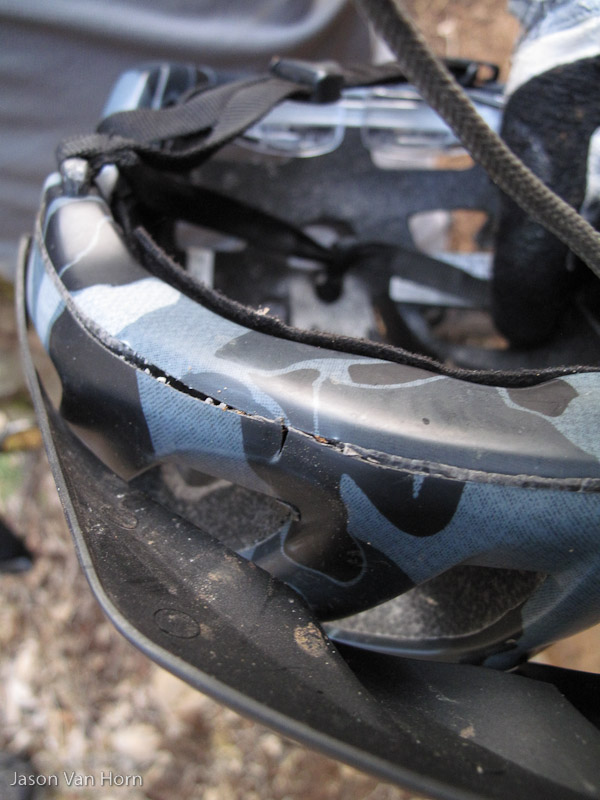 Yet another helmet that gave up its life for mine.