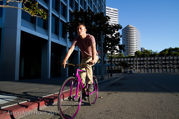 Rolling the streets of Oakland wearing the 511 Skinny Commuter Jeans by Levi's.