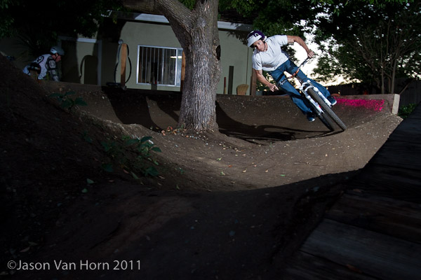 Ian Massey exits the tree berm at speed.