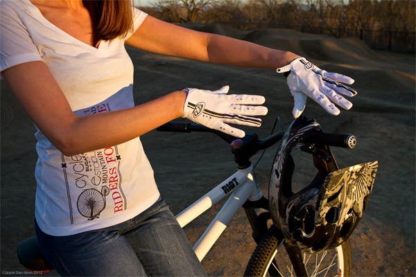 Sporting the white Troy Lee Womens Ace gloves at the bike park
