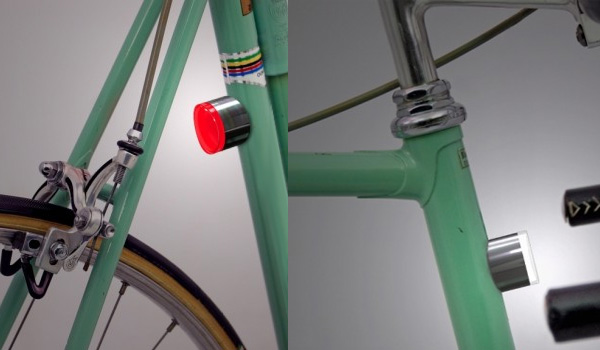 Placing these magnetic bike lights on a steel frame activates the on switch.