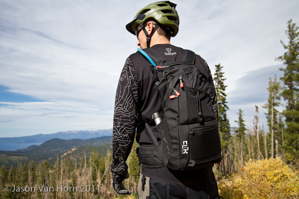 Riding with the Clik Elite Pack on the Tahoe Rim Trail.