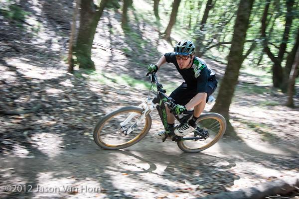 Cranking through a turn at China Camp State Park in San Rafael, CA.