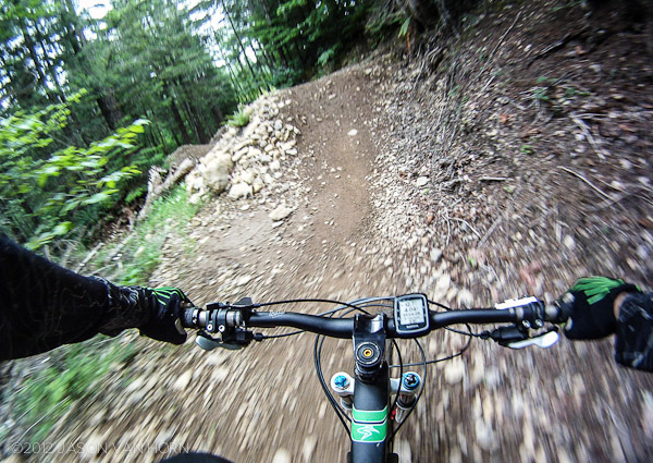 Setting up to send it on the dirt jump section of the 338 Trail.
