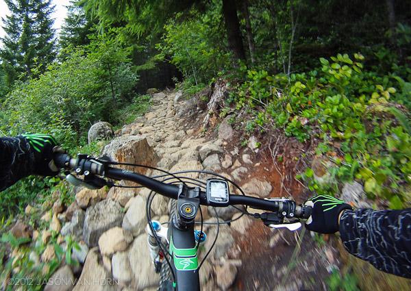 A rock strewn section of the Sandy Ridge Trail.