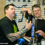 Joe and Will are usually a lot more competent in the shop. (this was before the booze was flowing at an art show downstairs)