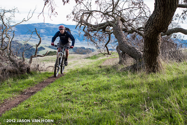 Kenny of Liteville USA tastes a bit of trail while testing out a 650b setup.