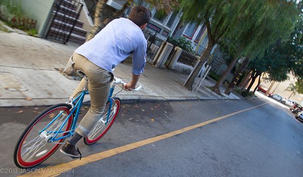 Riding the Vilano through the streets of San Francisco.
