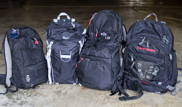 From left to right: Clik Elite Compact Sport, LowePro Photo Sport 200, Clik Elite Venture 30, and Dakine Sequence Photo Packs.