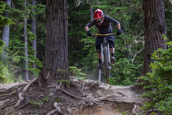 On the Joyride trail at the Whistler Bike Park.