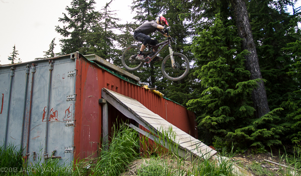 The classic container drop at Whistler. No worries on traction with the Syntace pedals.