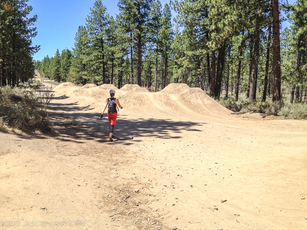 Slalom line and jump line in Bend, just off Ben's Trail.