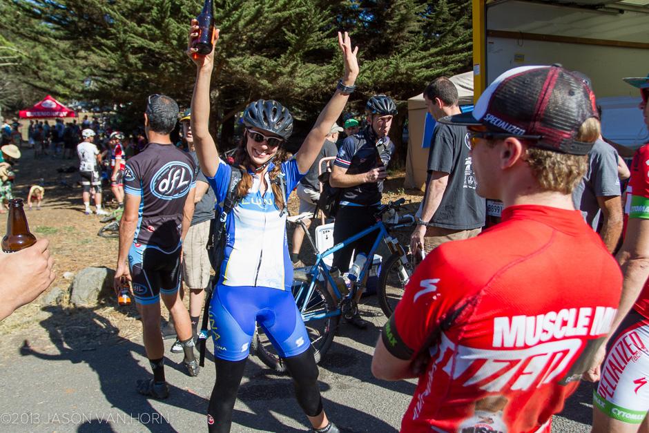 Inga celebrates her first race