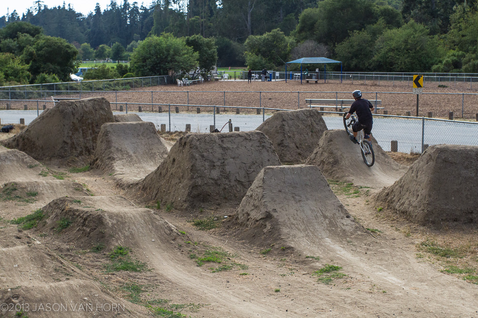 Working on the intermediate jump line at the Polo Grounds Jumps in Aptos, CA.