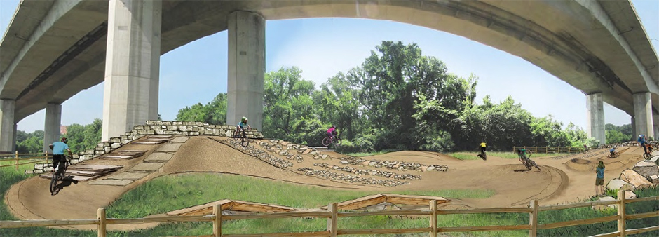 A mockup of possible features for Gateway Green Bike Park