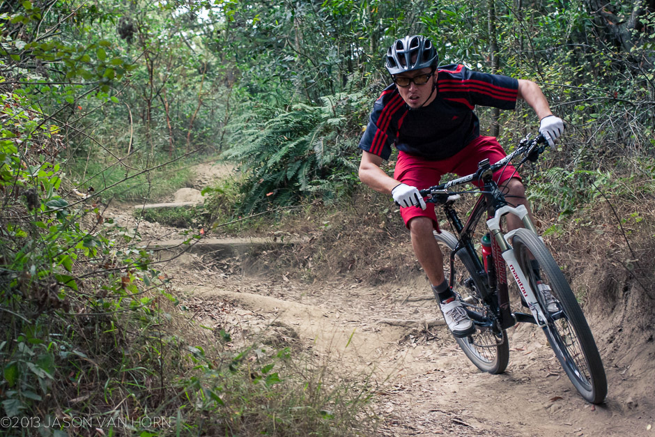 Riding local trails in the Giro Chamber shoe encourages aggressive riding.