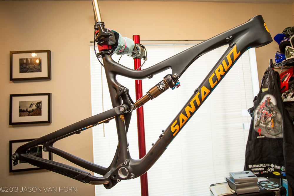 Out of the box: Santa Cruz Bronson carbon frame, size large.