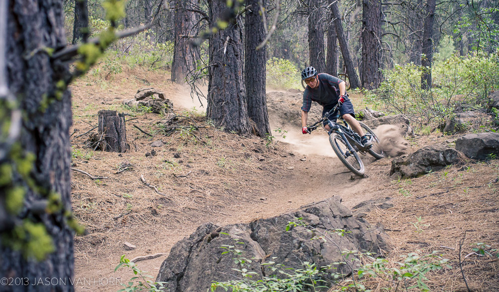 drifting a loamy turn in Bend, Oregon