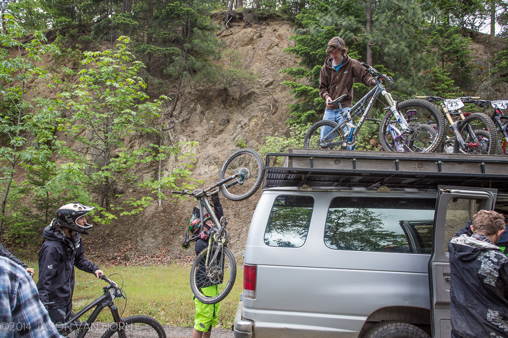 Loading bikes for the DH race.
