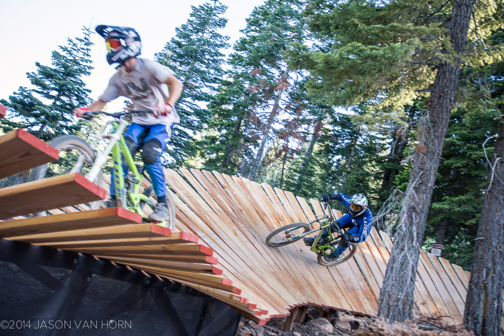 Tanner and Matt train through the whale tail in the GoPro Zone on Gypsy at Northstar.