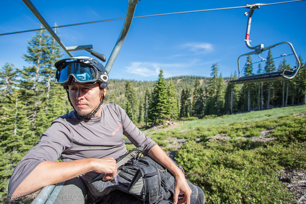 The Bell Super paired with Oakley googles in rest mode at the Northstar Bike Park.