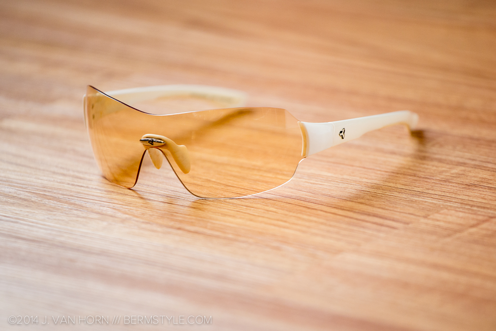 The Via from Ryders in metallic white, with light yellow photochromic lens