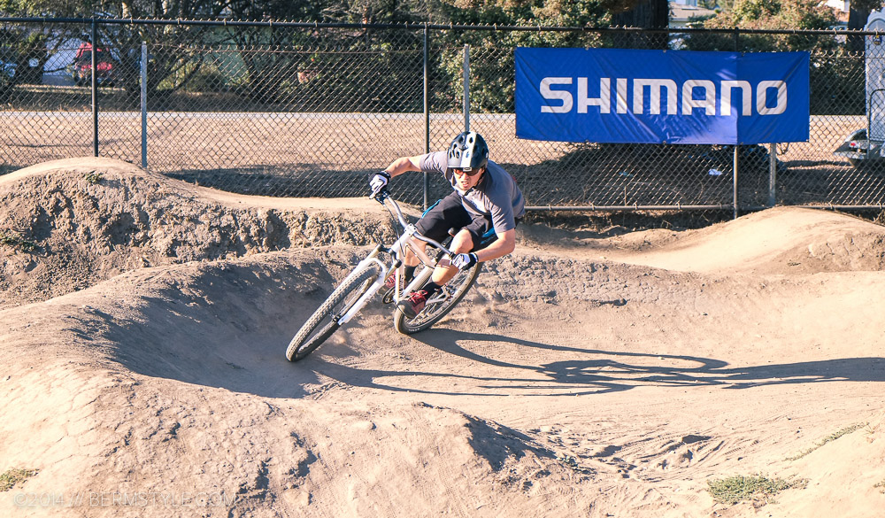 Working the s-turn section at the Westside Pumptrack in Santa Cruz