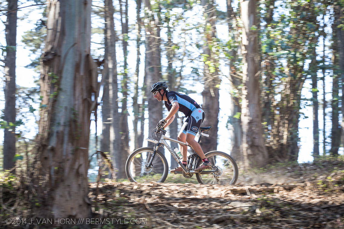 Flying through the trees on the best piece of single track on the course