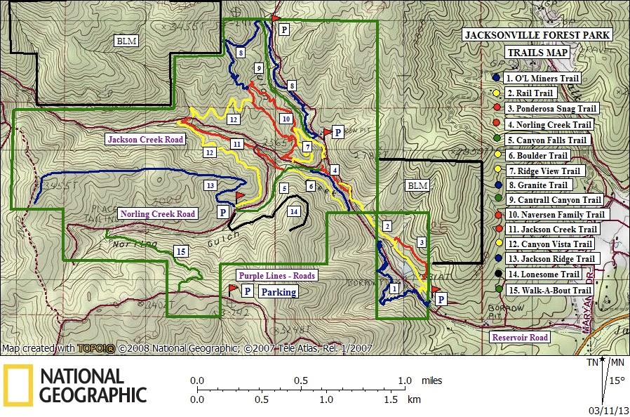 Southern Oregon Trail Destination Jacksonville Forest Park - Oregon hiking trails map