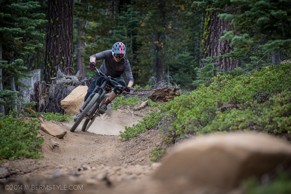 Riding the enduro course at Northstar