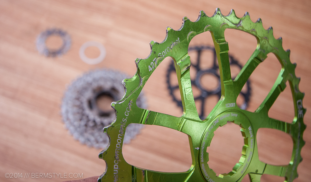 Wear and tear on the 42t OneUp sprocket.