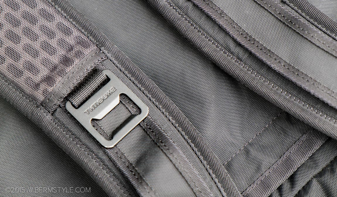Signature Timbuk2 bottle openers on the shoulder straps.
