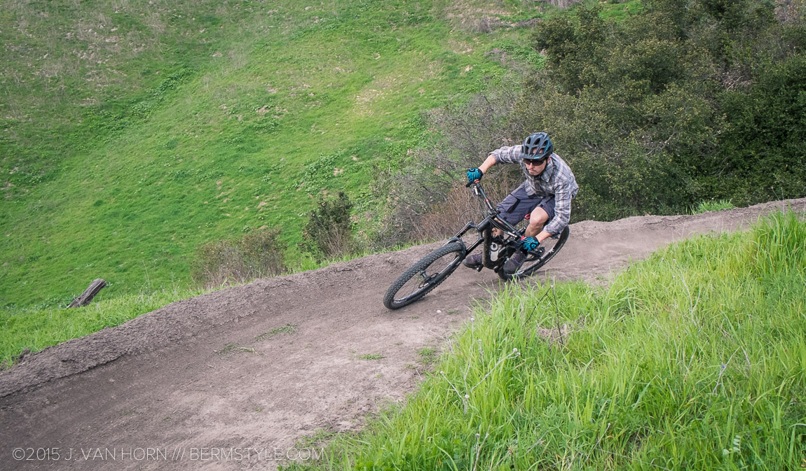 Riding a berm. Photo by Nat Lopes.