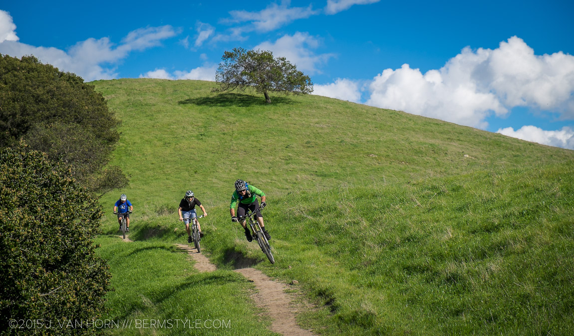Nat Lopes of Hilride leads Brian Zimmerman and Steve Fong down the flowy single track.