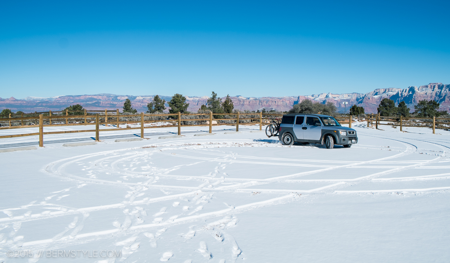 After driving our to Gooseberry Mesa and finding the trail covered in snow, I cut some donuts in the parking lot before headed to St George to ride.
