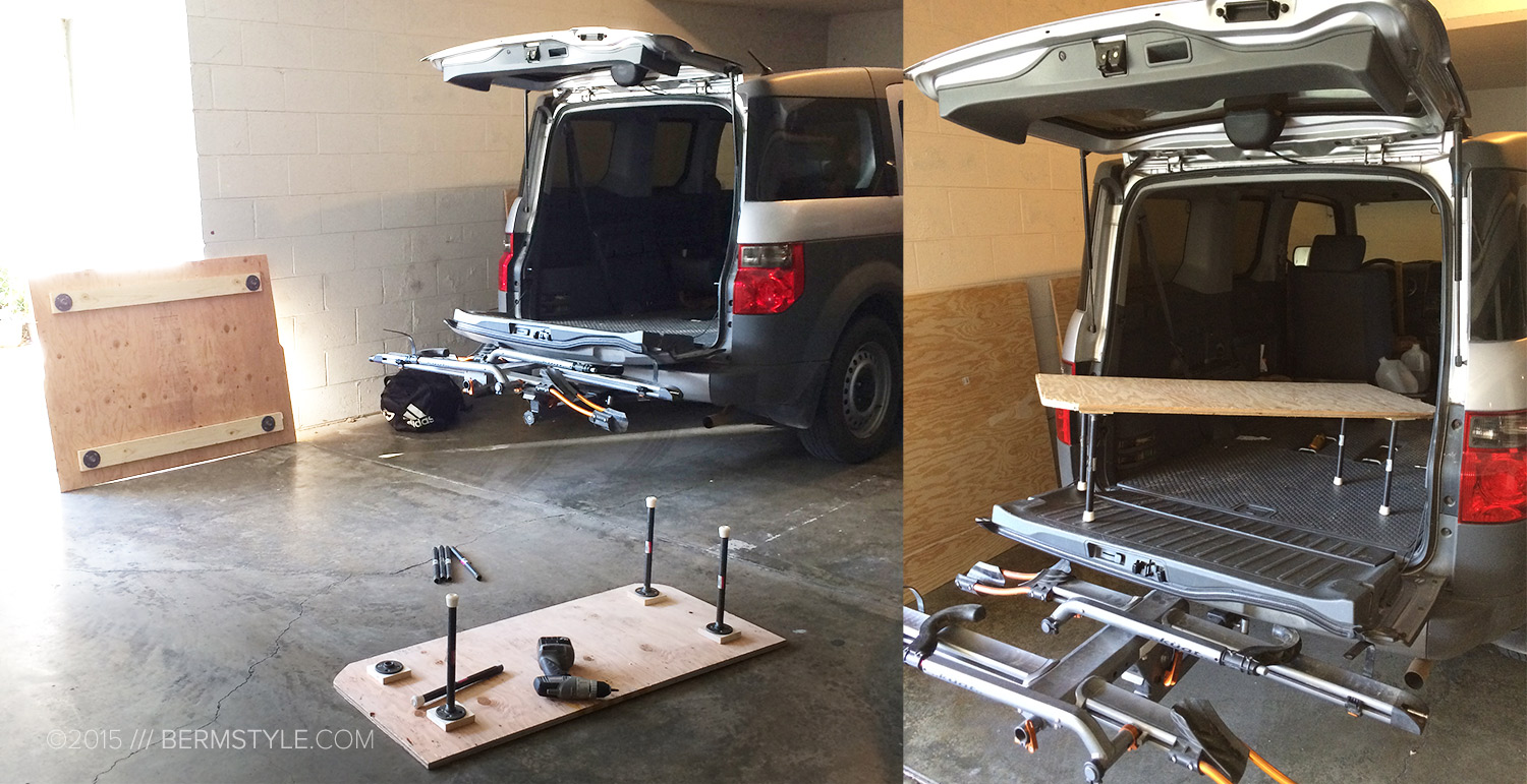 Constructing the two piece bed platform in our Honda Element
