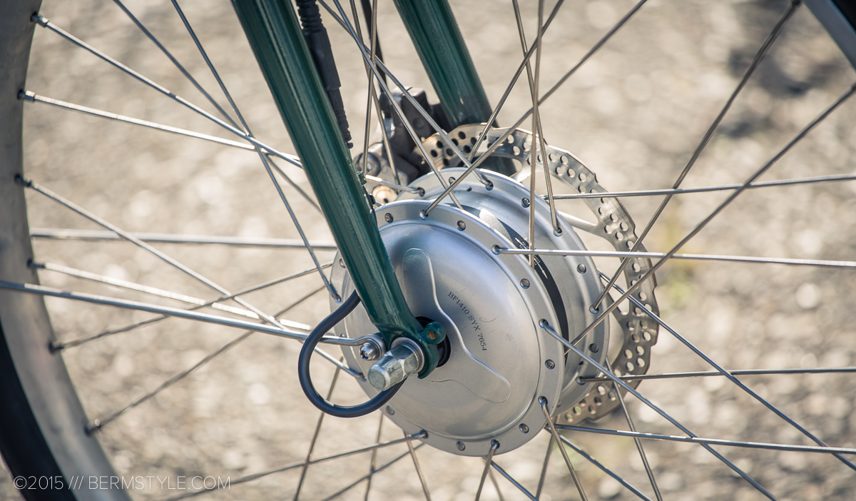 The front hub houses the electric motor.