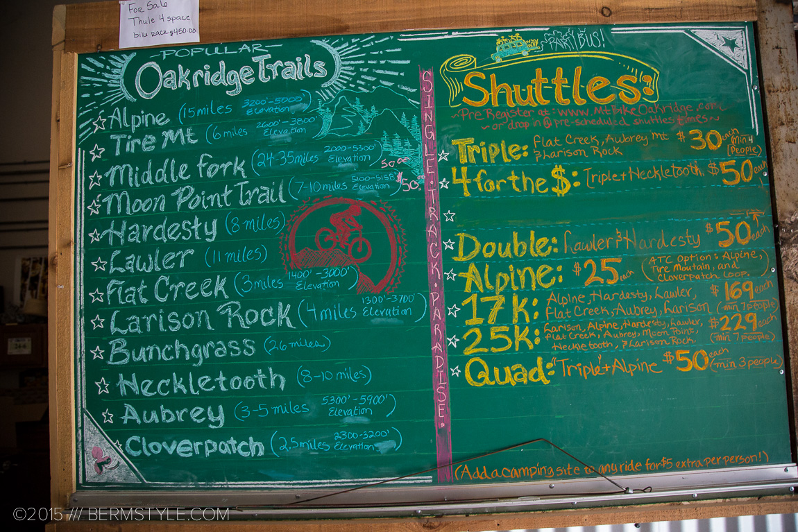 Menu of trail options to choose from at Oregon Adventures.
