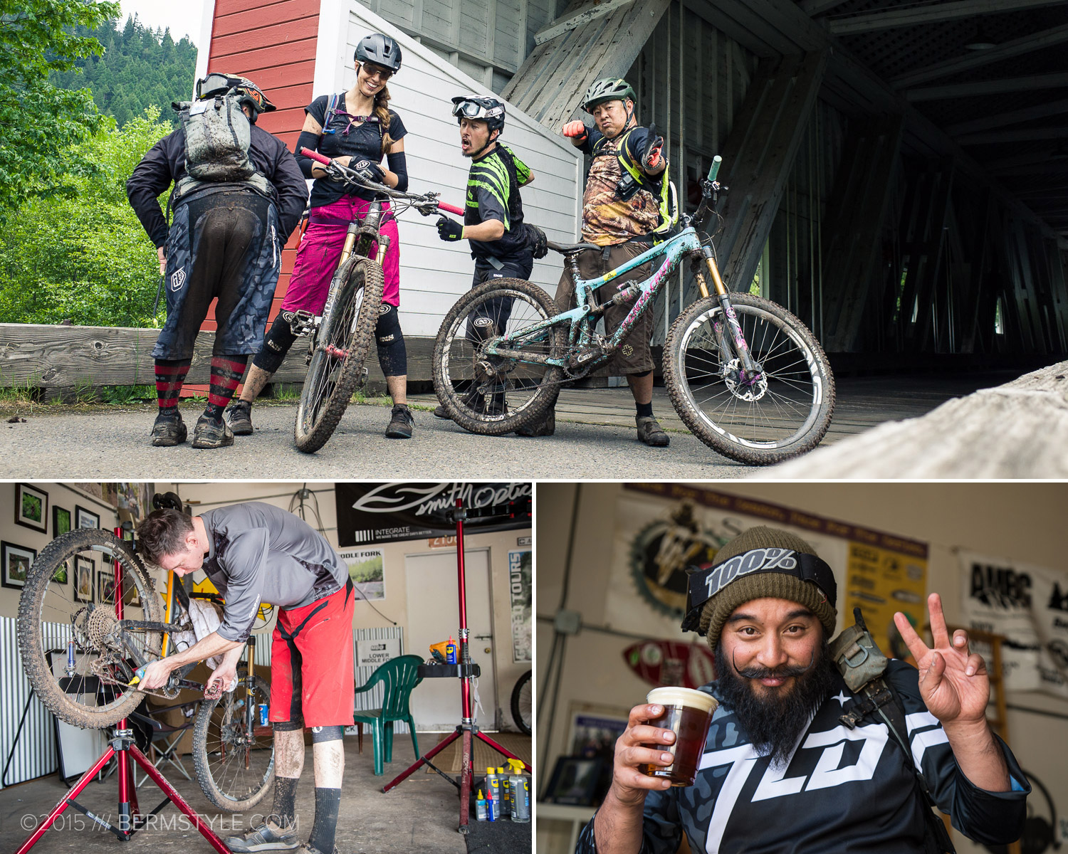 Post ride shenanigans on day two after riding the Alpine Trail.