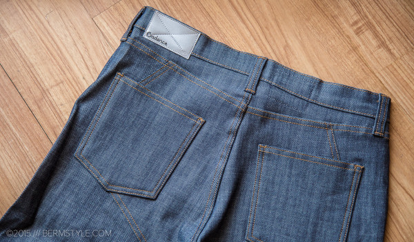 Detail of the seat reinforcement on the Cadence jeans.
