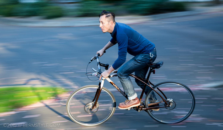 riding a bike in portland wearing bike clothing
