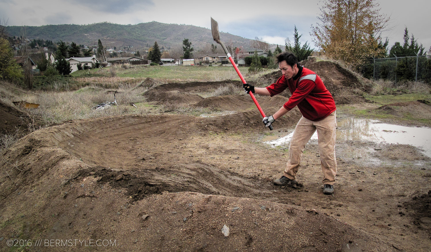 Working on a pump track in Ashland, Oregon. 2010.