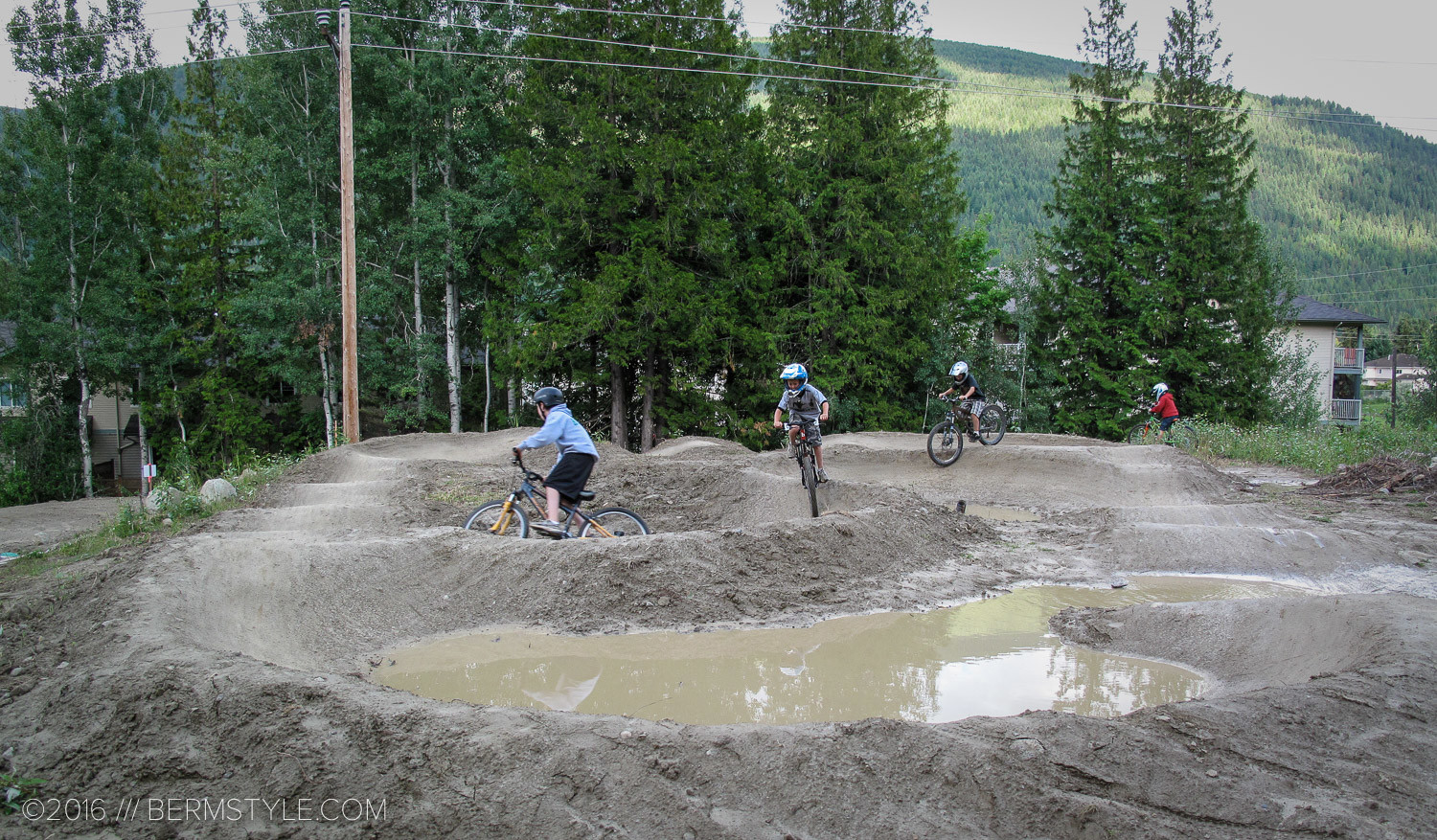 Drainage can be a challenge in maintaining a pump track, as seen at this pump track found some where in Canada. 2009.