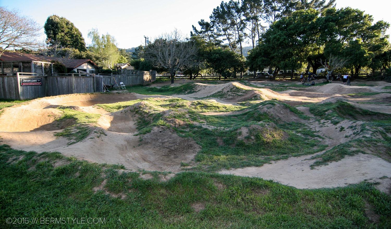 "Mark Weir's backyard pump track, AKA ""the Peacock Pit""."
