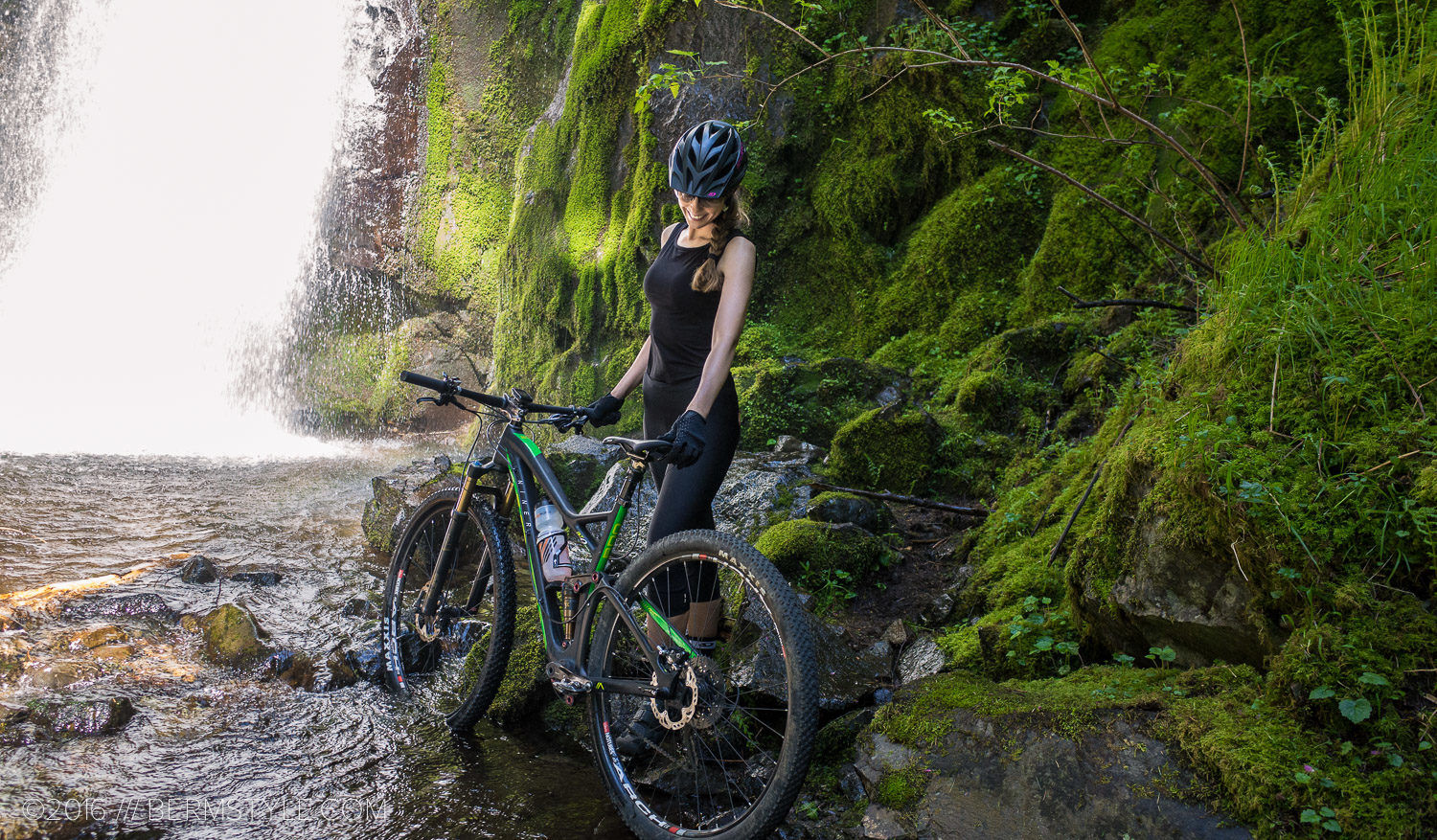Inga Beck poses with the RKT 9 RDO at Hidden Falls on the Tarbell Trail.