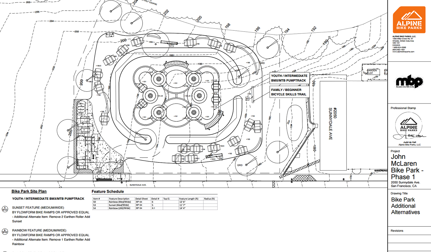 McLaren Bike Park SF, CA Update: Construction Documents out to Bid